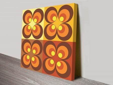 Seventies Retro Geometric Circle Pattern Nostalgic Canvas Wall Art