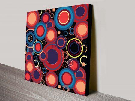 Retro Geometric Concentric Circles Pattern Mounted Art Print Australia