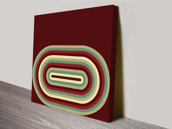 Retro Geometric Lozenge Brown 70s Inspired Ready to Hang Wall Art