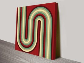 Retro Geometric Bends Brown 70s Inspired Ready to Hang Canvas Art