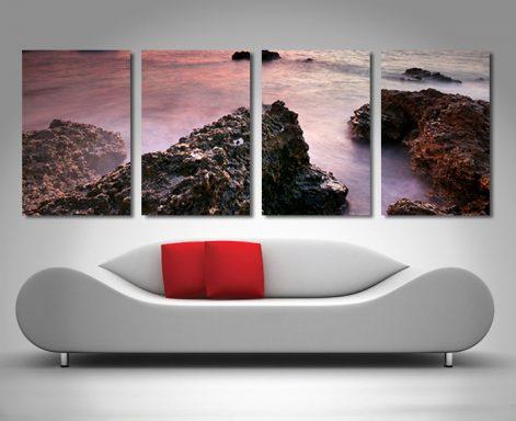 rocks on the shore 4 panel canvas online print australia