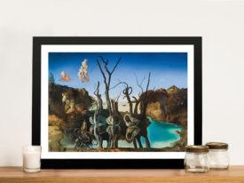 Swans Reflecting Elephants Dali Print on Canvas