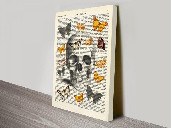 skull and butterfly canvas print