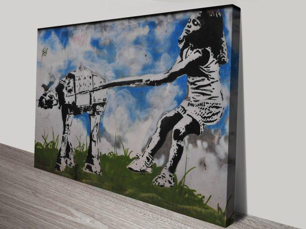 star wars walking the dog canvas print