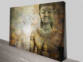 Stone Buddha Warrior Statue Ayutthaya Tranquil Zen Canvas Art Print
