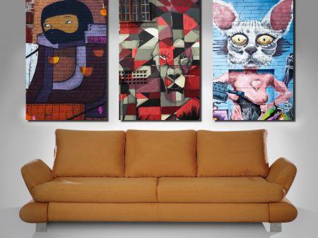 street art triptych wall canvas