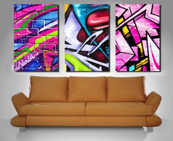 street art triptych wall prints