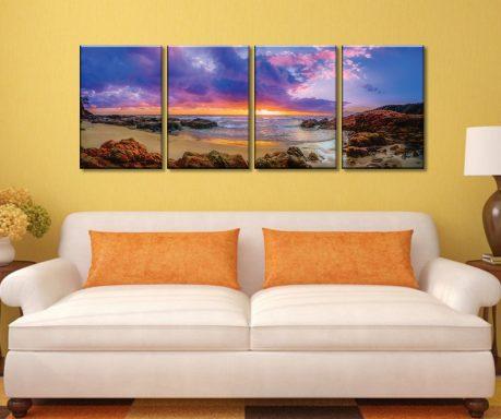 Sunset Rocky Bay 4 Panel Stretched Canvas Art Prints