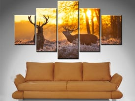 sunset pair of stags 5 panel wall art print on canvas australia