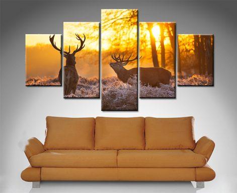 sunset pair of stags 5 panel wall art print on canvas australia