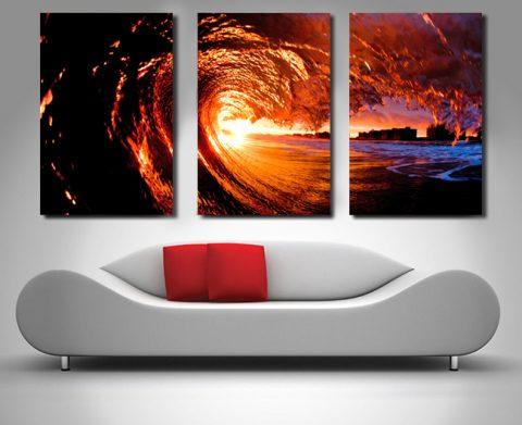 sunset surf triptych canvas
