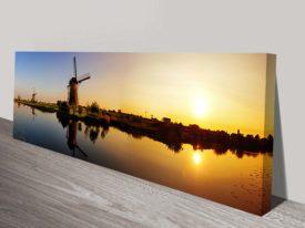 Sunset Windmill Norfolk Panoramic Photo Canvas Print