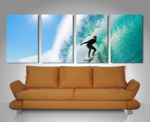surf haze 4 panel wall art print on canvas