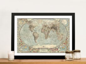 Classical Vintage Framed World Map