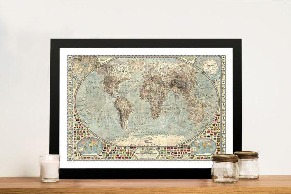 Classical Vintage Framed World Map