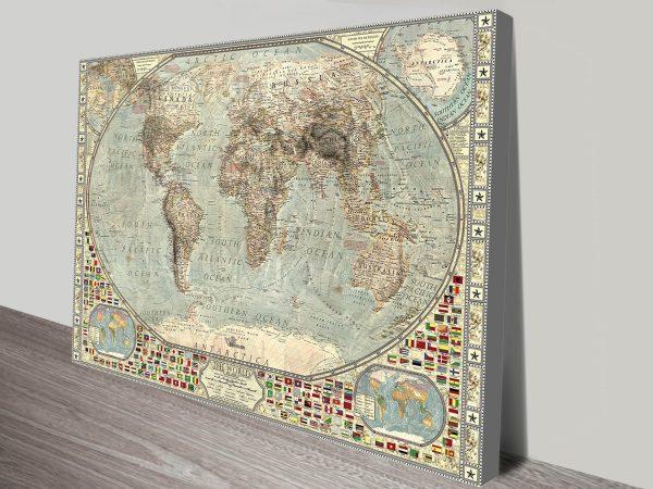Classical Vintage Framed World Map -canvas-print