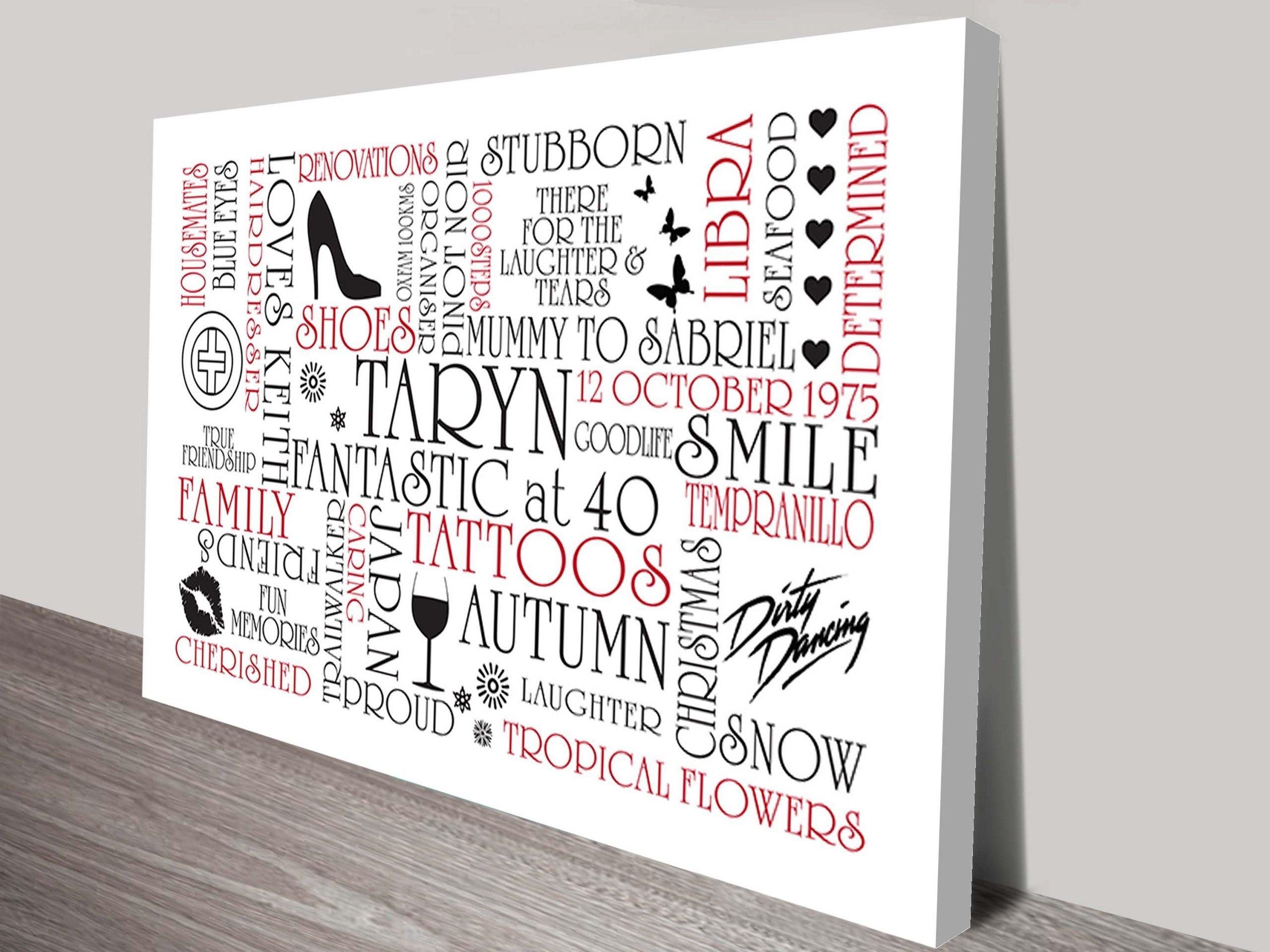 typographic clipart canvas print