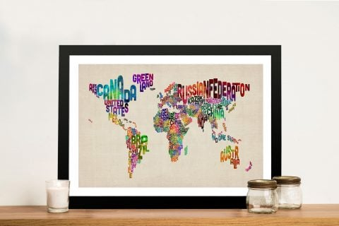Text Map of the World Framed Wall Art