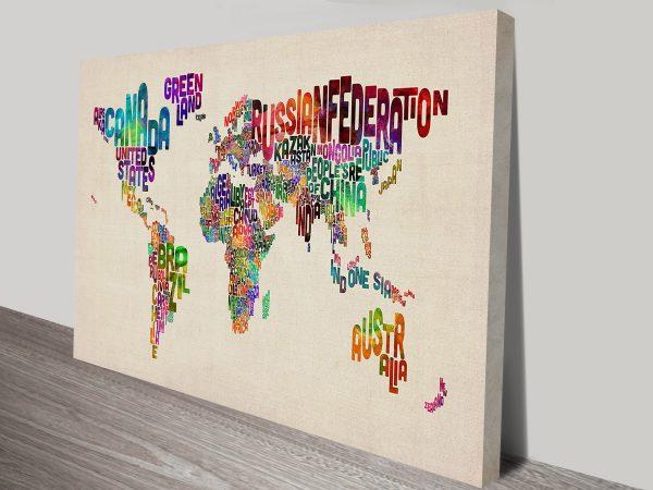 Michael Tompsett Art Prints Typographic Text World Map