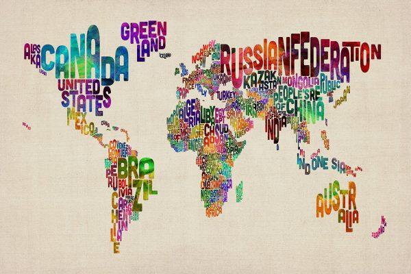 Michael Tompsett Typographic Text World Map Art Prints