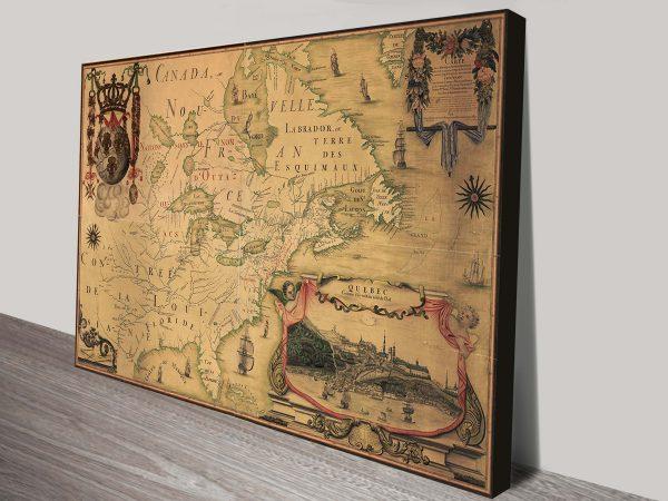 vintage map canada wall art