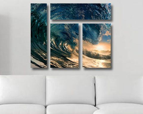 Sunset Waves Mixed 4 Panel on Canvas