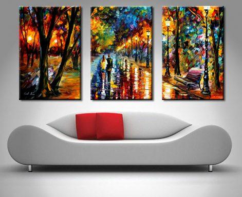 Leonid Afremov Triptych Art Print