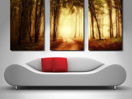 woods triptych panel canvas print