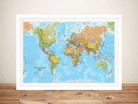 Colourful World Map Canvas Wall Art