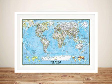 World Map Blue Ocean Print Artwork